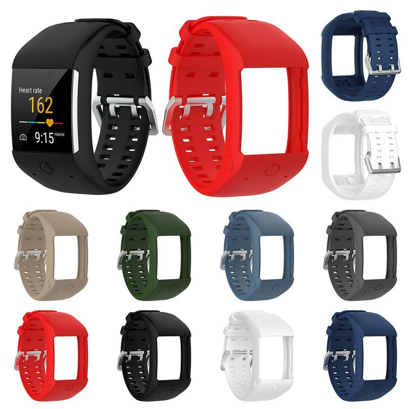 Comfortable Silicone Replacement Watchband Wrist Strap For Polar M600 Smart Watch Wristband Strap Classic Stainless Steel Buckle
