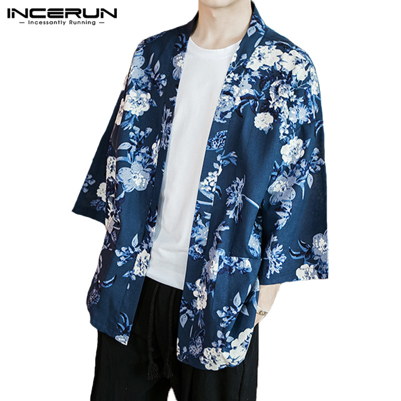 INCERUN Men Outerwear 3/4 Sleeve Floral Printed Cotton Retro Chinese Style   Trench   Coat Men Kimono Streetwear Men Cardigan S-5XL