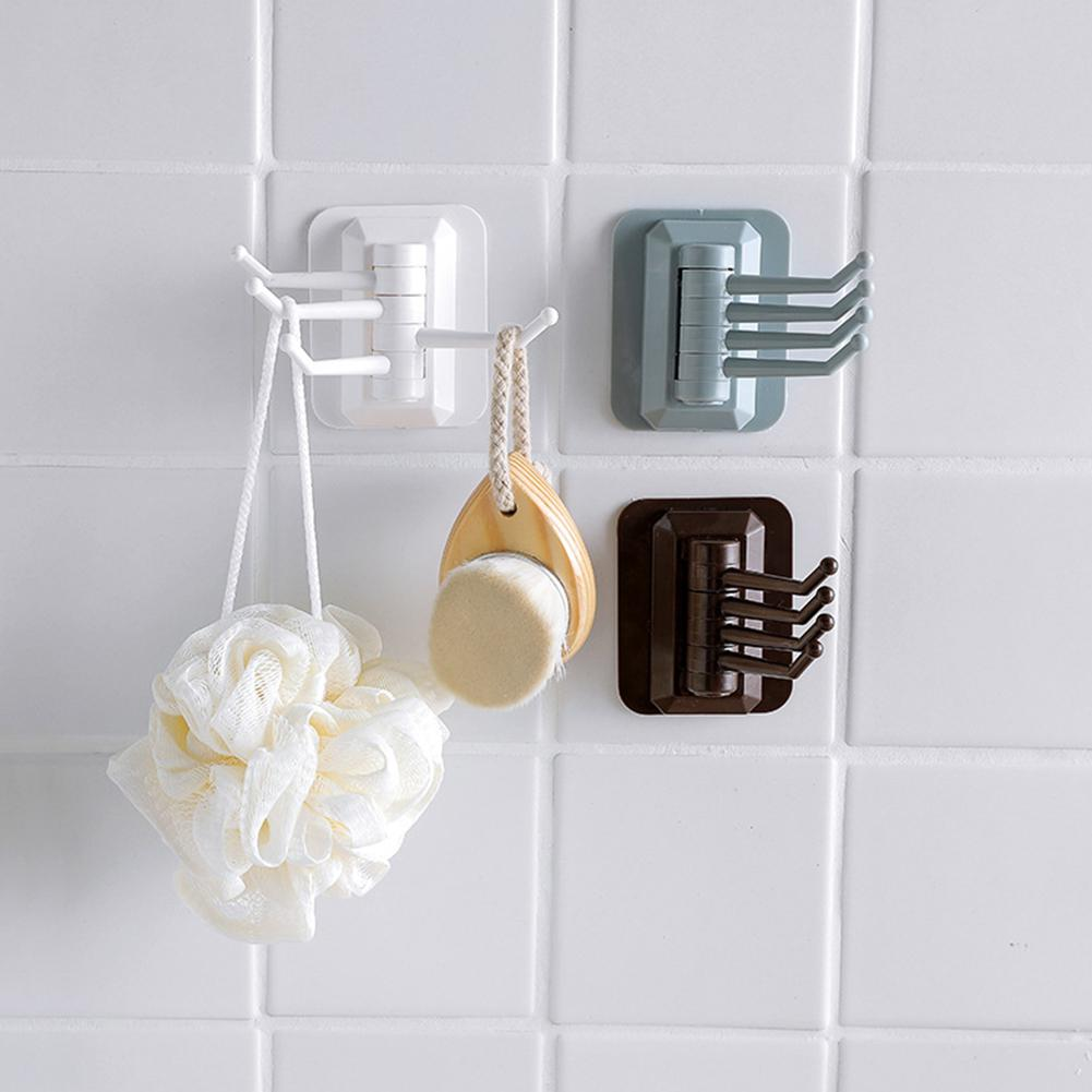 Adeeing Rotating Nail Free Wall Hooks Towel Hanger For Kitchen Bathroom Storage-30