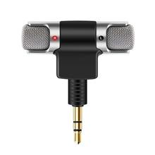 Powstro microfone estéreo portátil, microfone gravador banhado a ouro plug com 3.5mm mini jack sem necessidade de bateria para iphone samsung htc