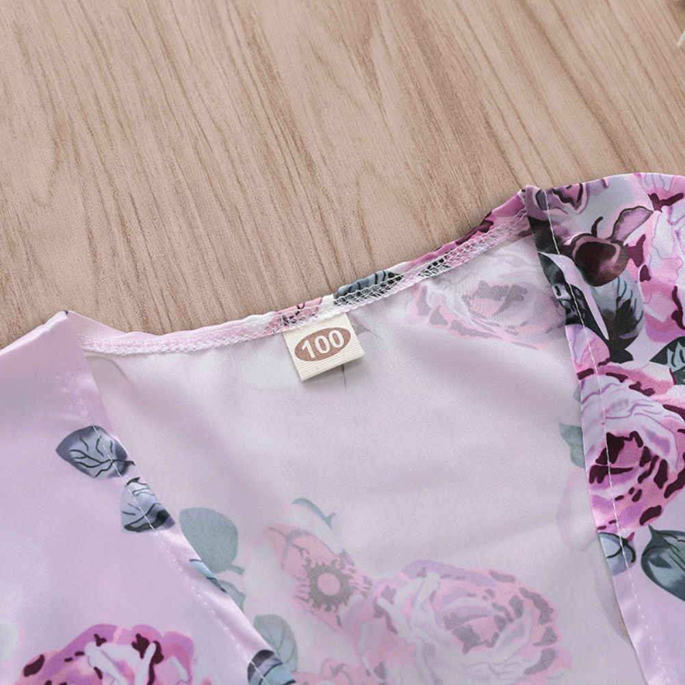 2019 Newest Style Cute Kids Girl Spring Autumn Floral Print Cardigan Tops Boho Shirt Beach Cover Up 1-5T