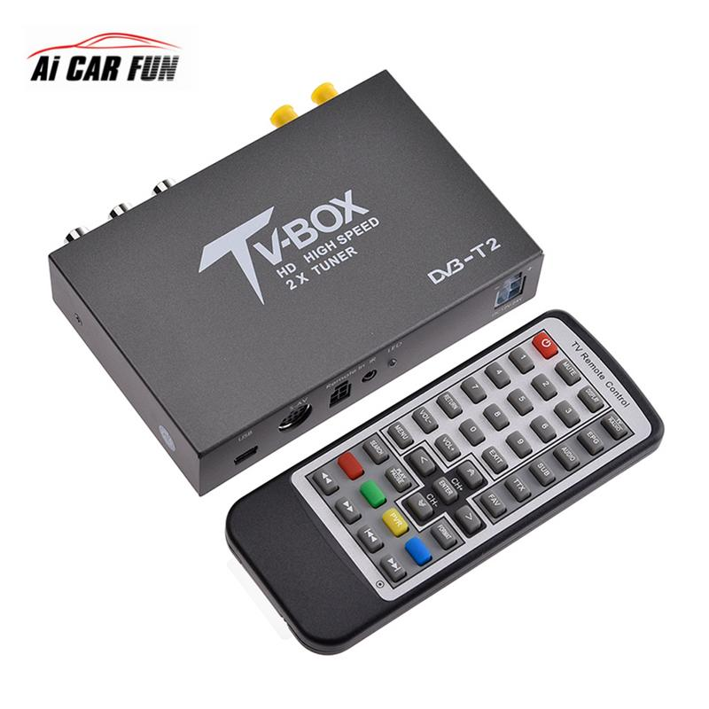 Car Electronics TV Receiver High Speed 160Km / Hours 4 Mobility Chip Digital CAR DVB T2 Car Dual Antenna HD TV Box T338B wekeao box dvb t2 atsc isdb t dvb tmpeg 4 tuner dual antenna car hd digital tv turner receiver auto tv high speed two chip