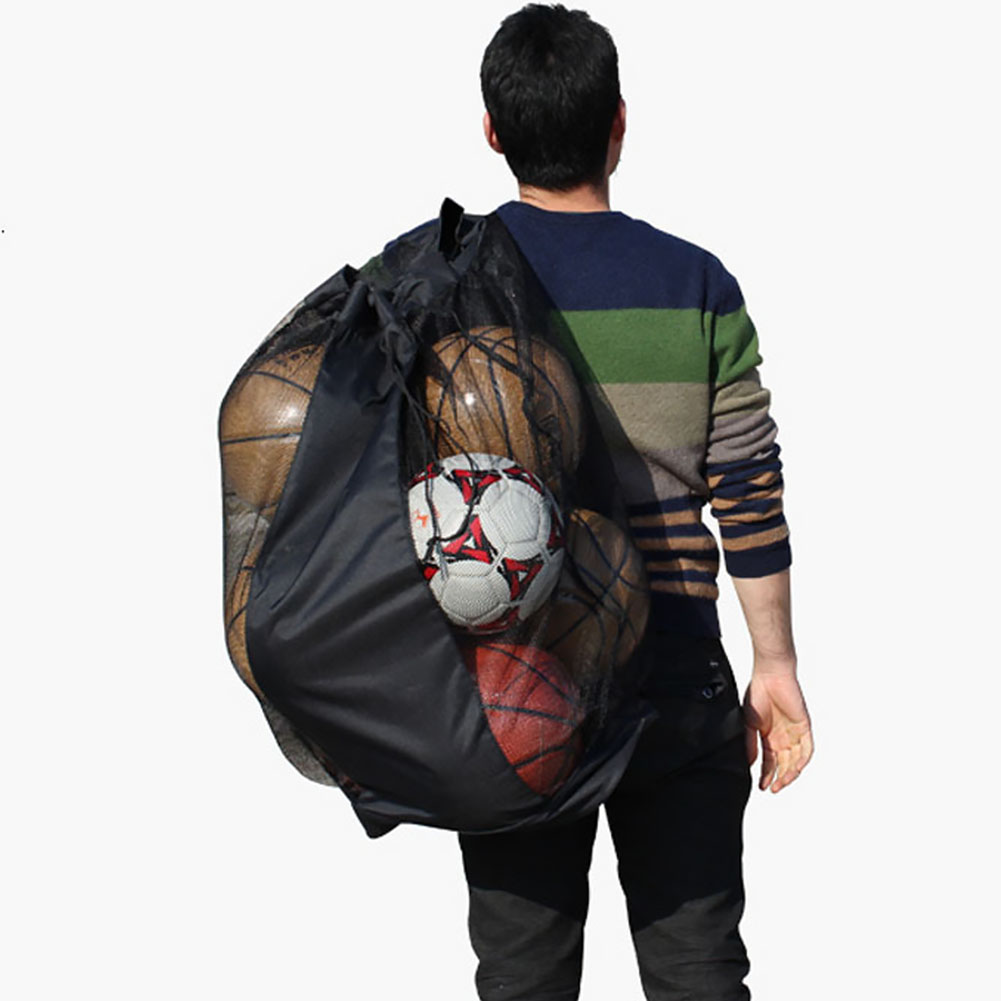 Outdoor Extra Large Football Carrying Sports Mesh Bag Waterproof Storage Drawstring Net Shoulder Bag Volleyball Basketball Sack~