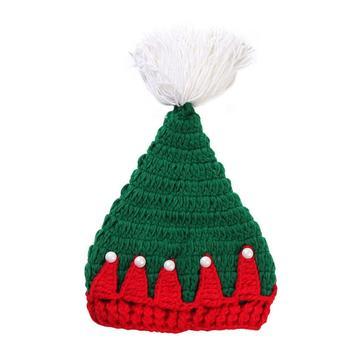9371f7e22 0-3 meses bebé verde sombrero de Navidad gancho de mano lana sombrero bebé  invierno cálido lana sombrero de Navidad