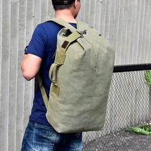 Militar tático lona mochila masculino grande durável saco de balde do exército ao ar livre esportes duffle ombro saco viagem ocasional