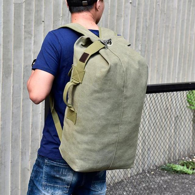 Military Tactical Canvas Backpack Men Male Big Durable Army Bucket Bag Outdoor Sports Duffle Shoulder Bag Casual Travel Rucksack