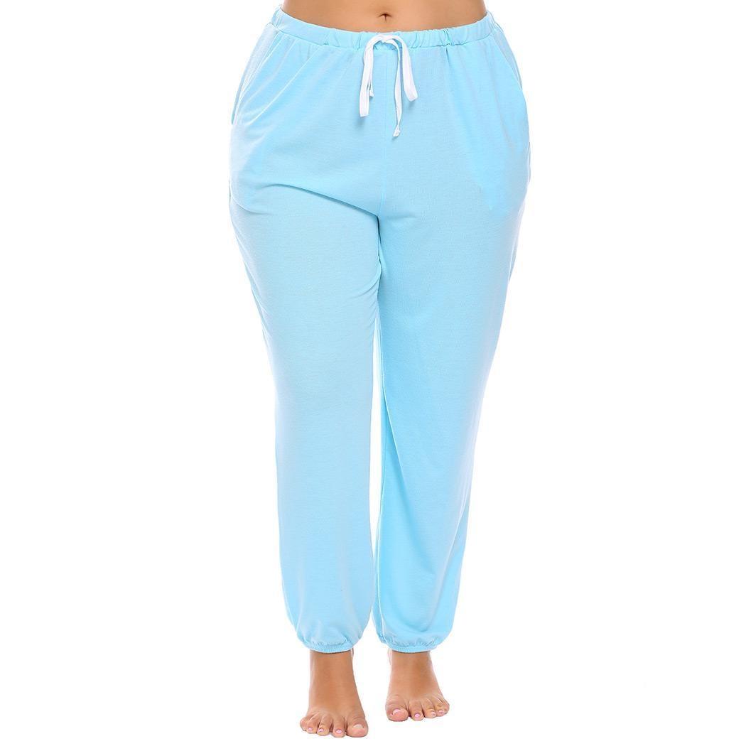 Hüfte 115 Cm Pyjama Hosen Plus Größe Pyjamas Dynamisch Frauen Kordelzug Taille Feste Beiläufige Lounge Höhe 171 Cm Fehlschlag 103 Cm 76 Cm