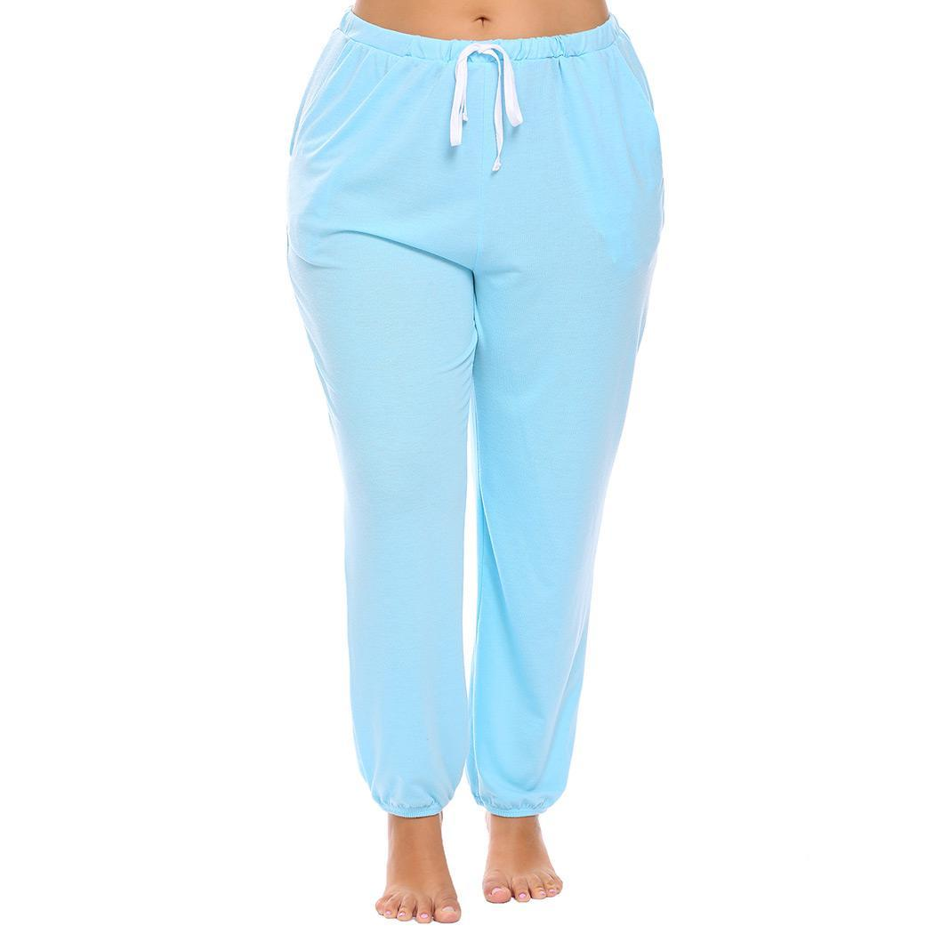 Women Drawstring Waist Solid Casual Lounge Height 171cm, Bust 103cm, 76cm, Hip 115cm Pajama Pants Plus Size Pajamas