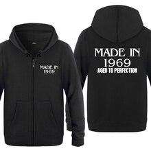 Feito em 1969 envelhecido à perfeição criativo presente de aniversário hoodies masculino 2018 lã zíper cardigans moletom com capuz