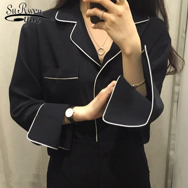 new arrived 2018 spring blouse women shirt female  long sleeved blouse office lady clothing fashion tops   d340 30