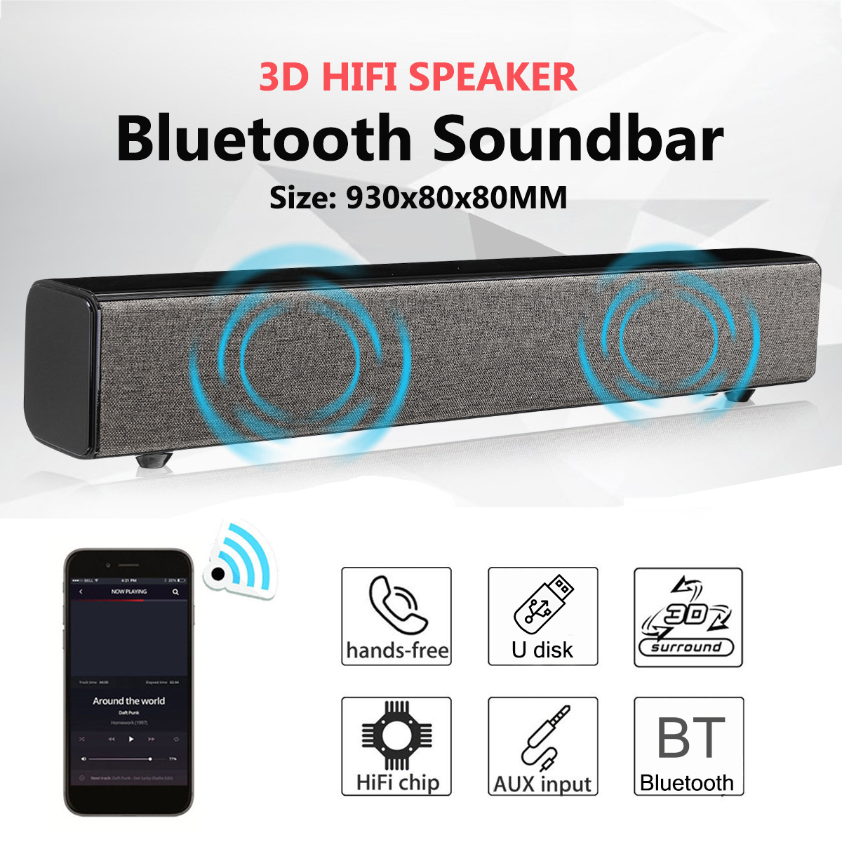 Home Theater 50W Bluetooth Soundbar TV AUX Optic Bluetooth Soundbar Speakers Soundbar with Subwoofer Speaker for TV with Remove