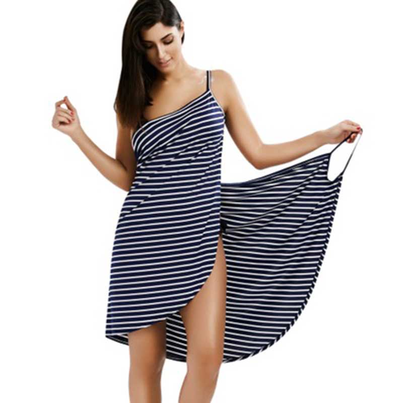 Women Striped V-neck Spaghetti Strap Knee-length Cover ups Sexy Backless Beach Dresses 1