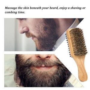 Image 2 - Męska szczotka do brody dwustronna szczotka do twarzy grzebień do golenia męski wąsy szczotka uchwyt z litego drewna opcjonalny rozmiar pędzel do golenia