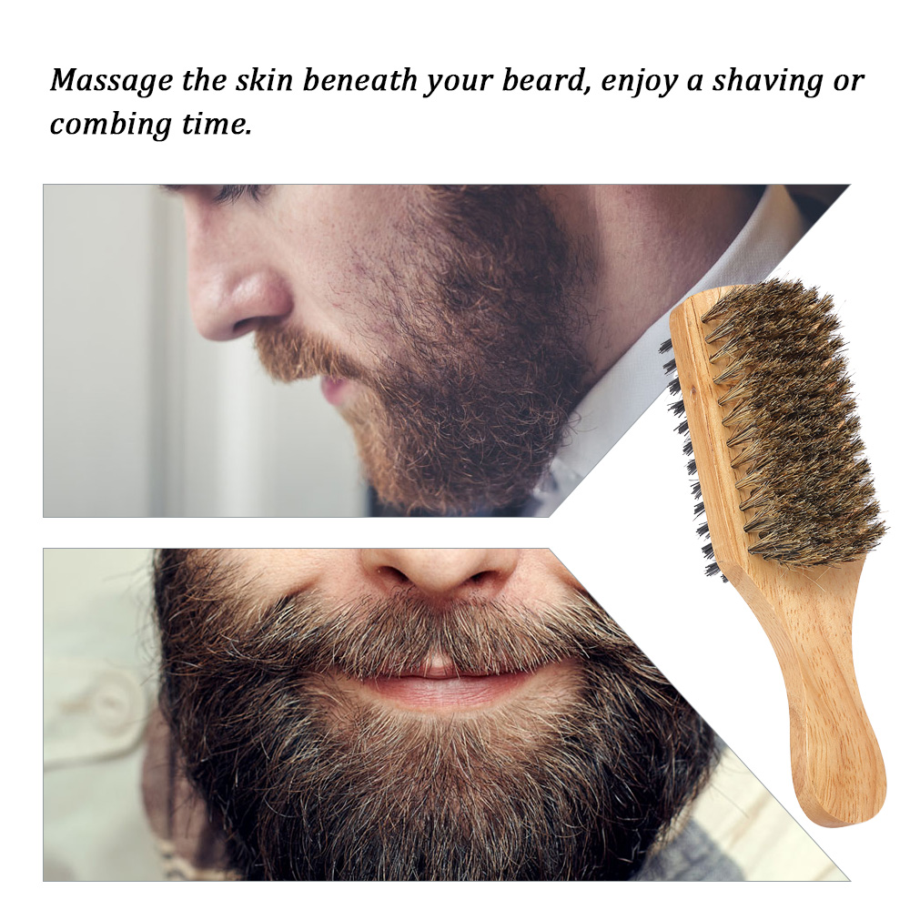 Image 3 - Men's Beard Brush Double sided Facial Hair Brush Shaving Comb Male Mustache Brush Solid Wood Handle Optional Size Shaving Brush-in Shaving Brush from Beauty & Health