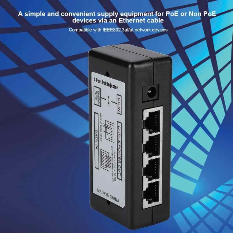 DC12V-48V 4 Port PoE Adaptor Daya POE Ethernet Power Supply Injector DC12V-48V untuk Kamera Ip