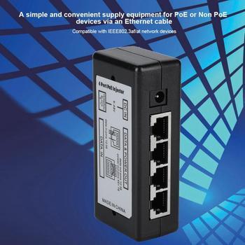 DC12V-48V 4 Port PoE Power Adapter PoE Ethernet Power Supply Injector DC12V-48V For IP Camera