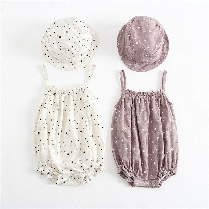 2019 Cute Baby Vestiti Delle Ragazze Di Estate Prendisole Star Stampa Principessa Body E Pagliaccetti + Cappello Del Sole Breve Set Vestito Infantile Delle Ragazze Tuta Vestiti