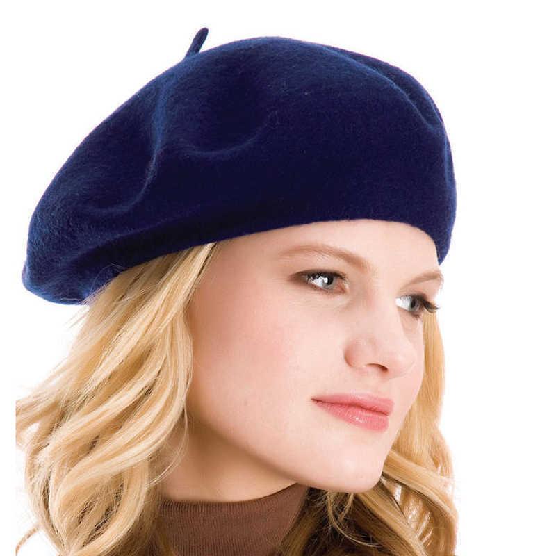 ad10cc16288aa ... Elegant Lady Women Wool Felt Warm French Classic Beret Beanie Slouch Hat  Cap Tam ...