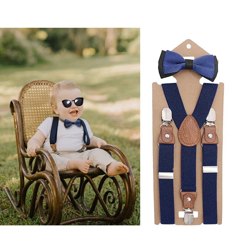 New Fashion Boys Girls Kids Adjustable Elastic Y-back Braces Baby Suspenders Bow Tie Set Butterfly Necktie Wedding Ring Bear