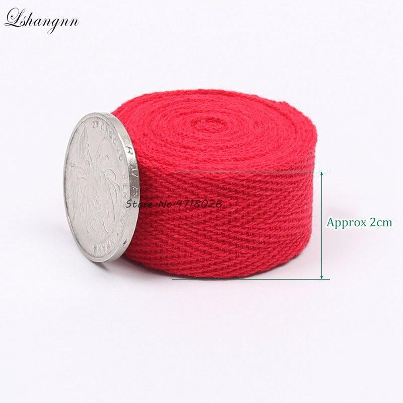 Lshangnn 2cm 45yards 100 Cotton Belt Herringbone Tape Package Cotton Ribbon 26 Colours For Handmade Diy Cloth Accessories in Ribbons from Home Garden