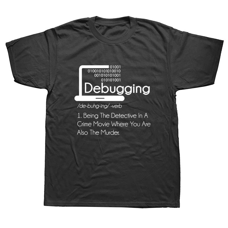 Debugging Definition T-Shirt Programmers Coding Gift Cotton T Shirts Men's Short Sleeve Tees Round Collar Vintage Big Size