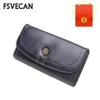 Women Wallets Leather Ladies Retro Card Holder Long Phone Bag And Zipper Pocket Money Coin Wallet Purse Portefeuille Femme 2019