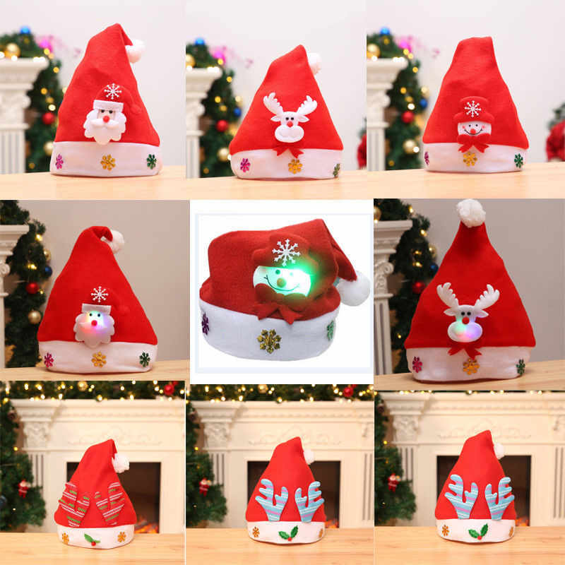 Hot Kids Adult LED Christmas Hat Santa Claus Reindeer Snowman Xmas Gifts Cap Bonnet De Noel Adulte Santa Claus Hat Christmas Cap