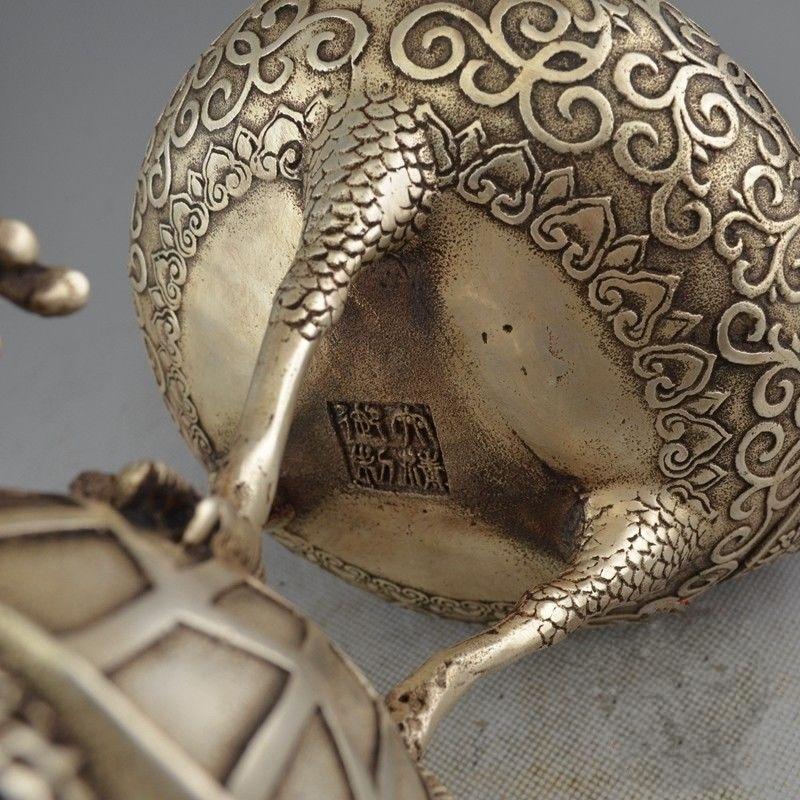 Rare chine Antique vieux tibétain argent Dragon tortue grue brûleur d'encens encensoir - 5