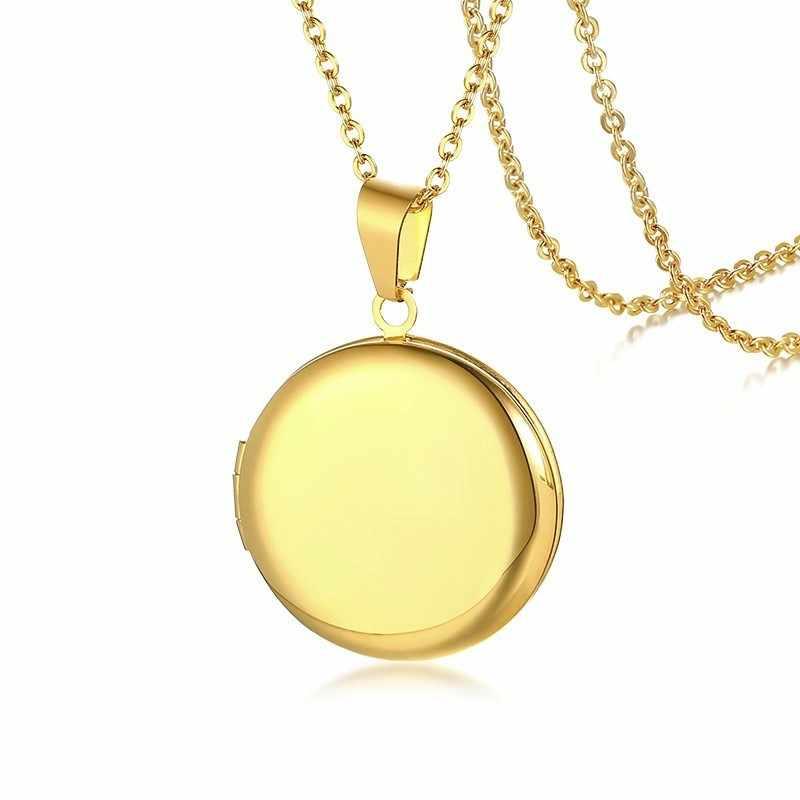 Grawerowany okrągły wisiorek medalion naszyjnik ze stali nierdzewnej Vintage złoty biżuteria prezent dla niej i jego