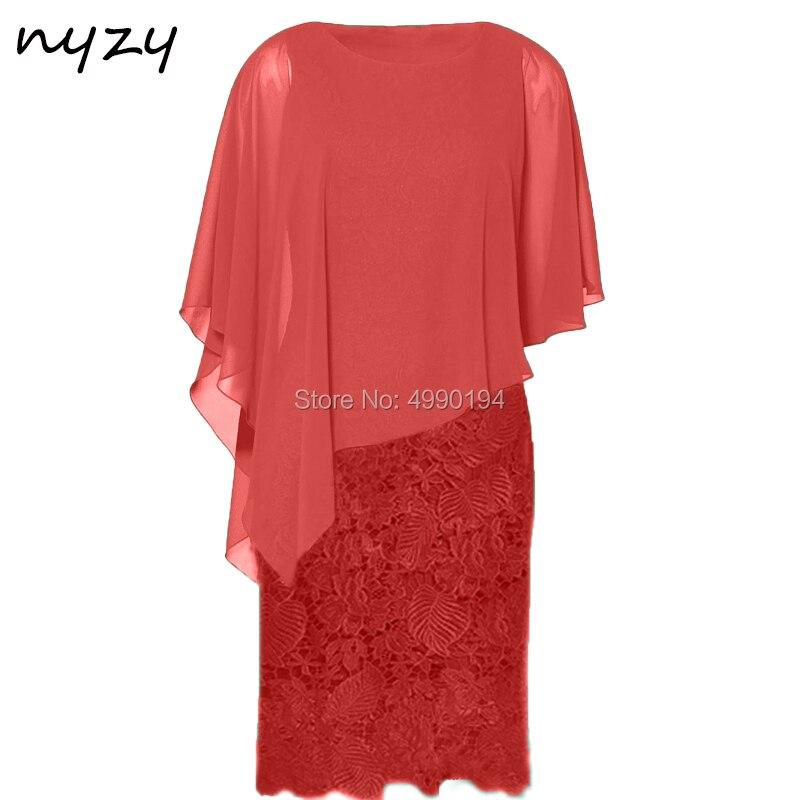 Rouge mère de la mariée robes dentelle Cape manches courtes élégante robe formelle pour la fête de mariage invité 2019 NYZY C51