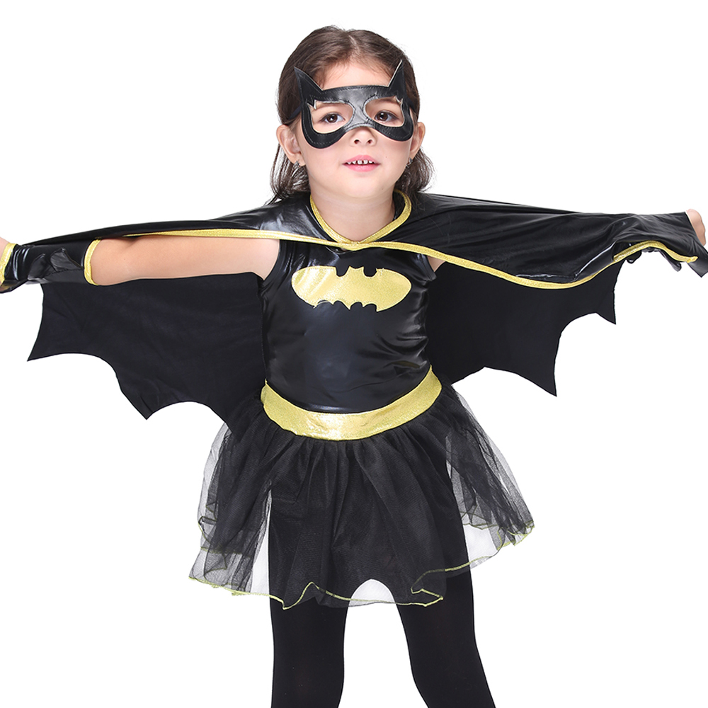 Batman Cosplay Girls Halloween Costume For Kids Batman Pu Leather Set Carnival Party Disfraz Suit Children Homecoming Costume