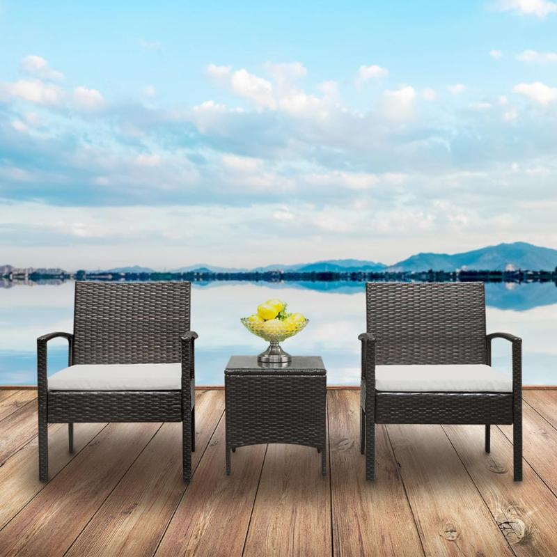 3Pcs Backrest Chairs Table Dining Chair Rattan Outdoor Cafe Furniture Kit for Home Office Decoration Leisure Garden Table Chair