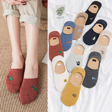 2Pairs Cotton Women Ankle Socks Couple Cute Girls boat socks Summer Shallow invisible Cartoon Short Socks