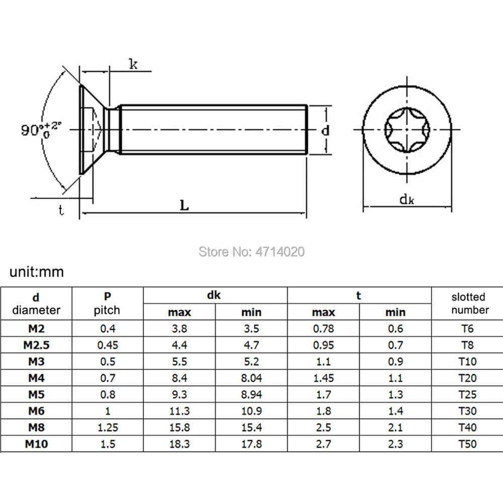 10/50pcs M1.6 M2 M2.5 M3 M4 M5 M6 M8 304 A2-70 stainless steel GB2673 Six-Lobe Torx Flat Countersunk Head Screw Six Lobe Bolt