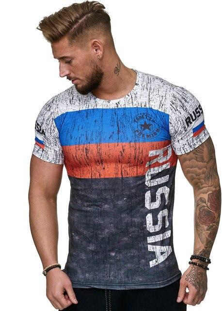 2019 Verão bandeira do Russo dos homens moda casual T-shirt em torno do pescoço T-shirt do homem fresco e leve