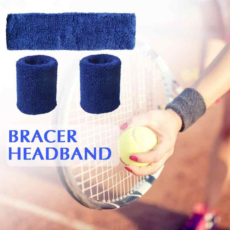 1pc Head Band + 2pcs Wristbands Sport Sweatband Hand Band Sweat Wrist Support Brace Wraps Guards For Gym Volleyball Basketball