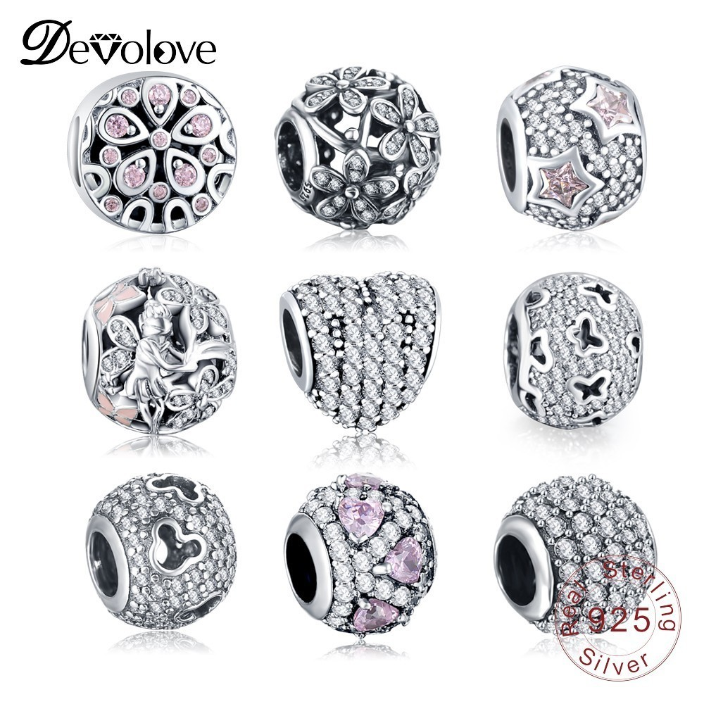 Devolove Authentic 925 Sterling Sparkling CZ Charms Beads Fit Original Pandora Bracelets Silver Jewelry Accessories Dropshipping