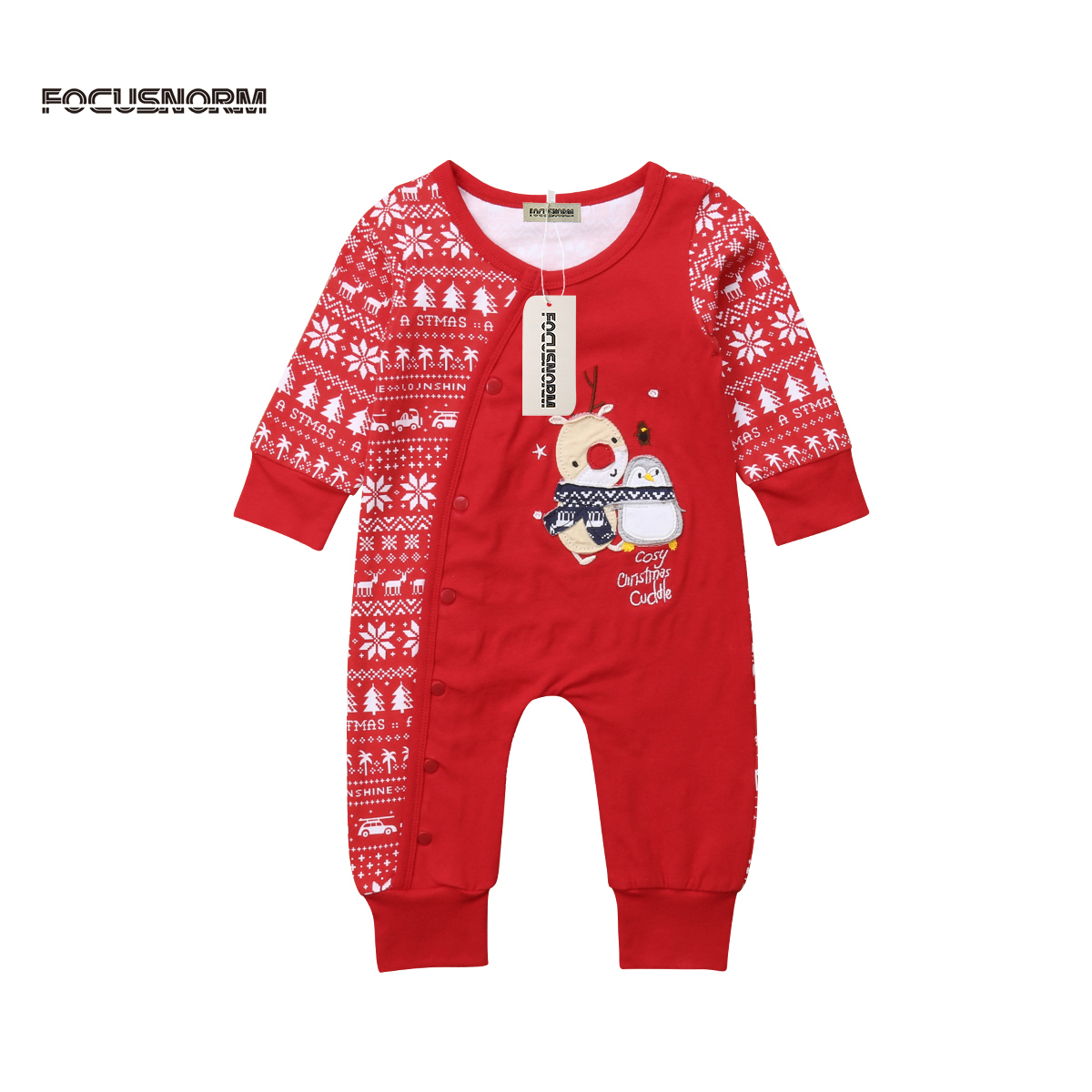 Newborn Baby Boys Girls Christamas Deer Print   Romper   Jumpsuit Cotton Long Sleeves Xmas Festival Clothes
