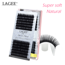 LAGEE New design natural soft J/B/C/CC curl faux mink eyelash individual extension handmade Glossy black fake false lashes