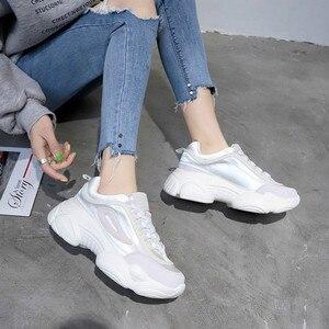 Image 5 - SWYIVY 2019 المرأة أحذية رياضية الصيف أبي أحذية النساء منصة جديدة أحذية رياضية أبيض/وردي حذاء كاجوال الإناث تنفس أحذية رياضية