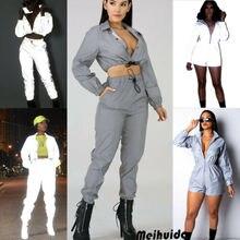 90722ccdf262 Women Fashion Reflective Zipper Long Sleeve Top V-neck Casual Club Sport Playsuit  Romper Jumpsuit