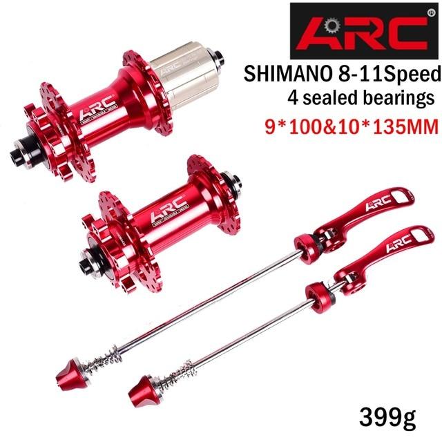 ARC Bicycle Hubs Sealed Bearing MTB Mountain Bike Hub Quick Release set Bike hub 32H Disc Brake 135*10MM QR 4 Bearings 4 Pawls