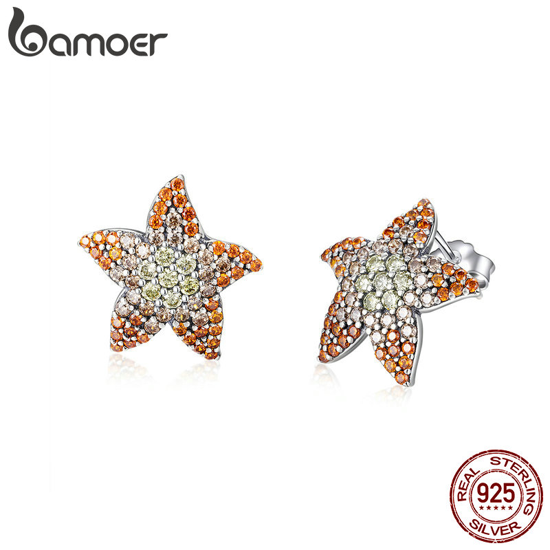 BAMOER 2019 Women Earrings Silver 925 Metal AAA Cubic Zirconia Starfish Stud Earring Fashion Ears Pin Fashion Jewelry SCE449