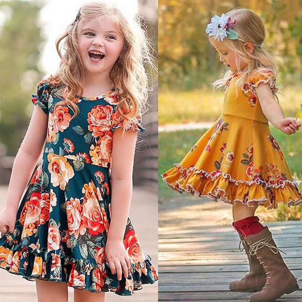 Pudcoco Girl Dress 1Y-6Y  Toddler Baby Girls Toddler Floral Dresses Kids Summer Party Dress Sundress