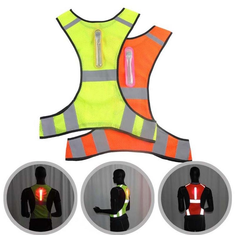 Outdoor Reflective Safety Vest LED Light Visibility for Night Running Cycling