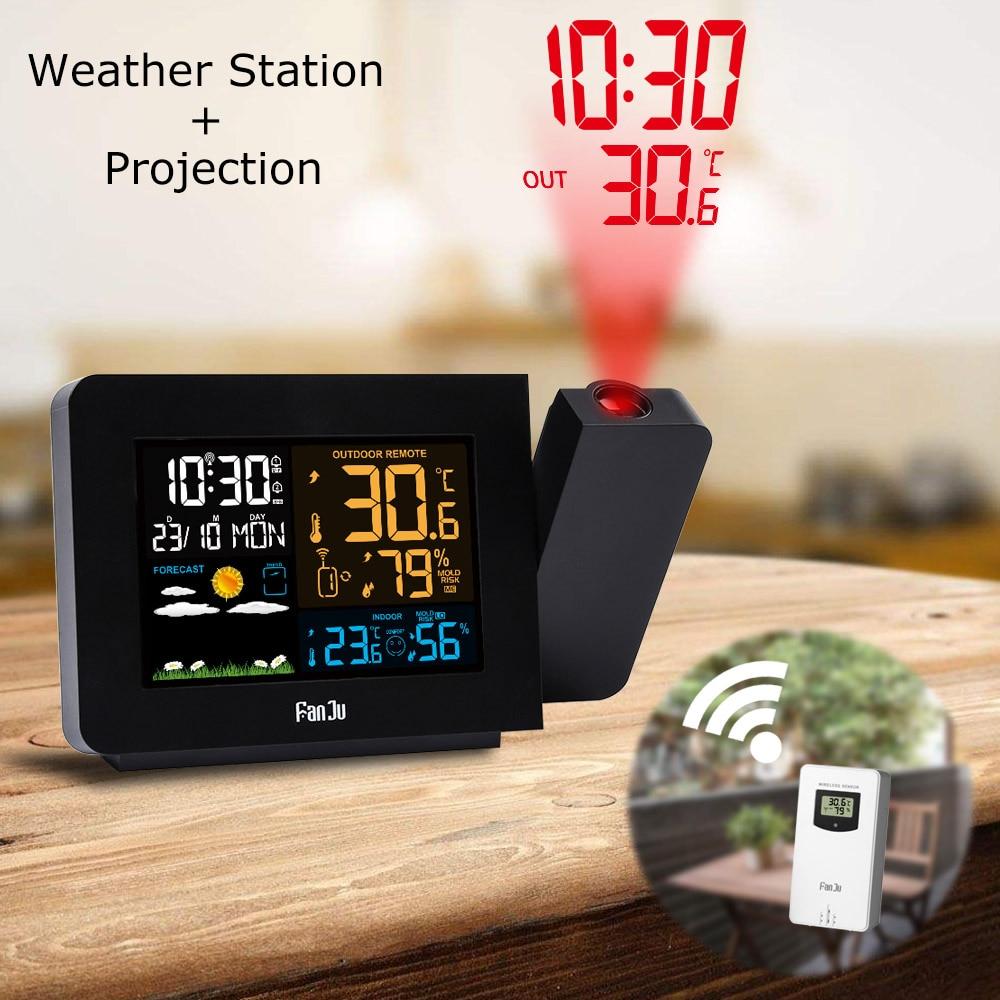 FanJu FJ3391 Weather Station Forecast Wireless Barometer Alarm Clock Time Projection Weather Snooze Radio Clock