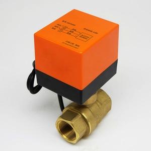 Image 1 - שני 3 דרך ממונע כדור 1/4 שסתום 220v חשמלי טמפרטורת מים פליז חימום מערכת שלושה קו בקרת מנוע מונע dn25