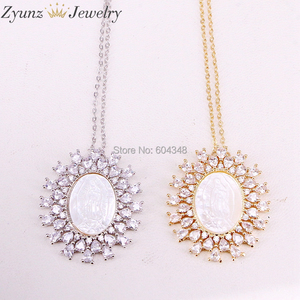 Image 2 - 5 Strands ZYZ323 8868 Gold /Silver Color Crystal Zircona Virgin Mary Pendant, Virgin Mary mother of pearl shell pendant Necklace