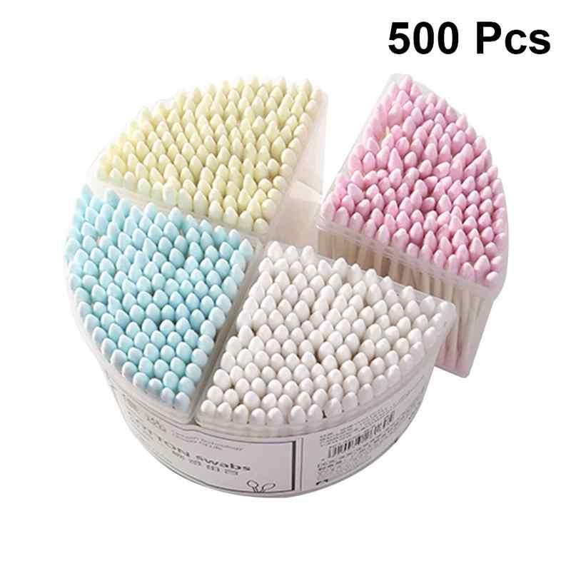 500 Uds. Suministros de maquillaje de bastoncillo de algodón de doble cabeza desechables para mujeres, Herramientas de limpieza de orejas de yemas de algodón de maquillaje