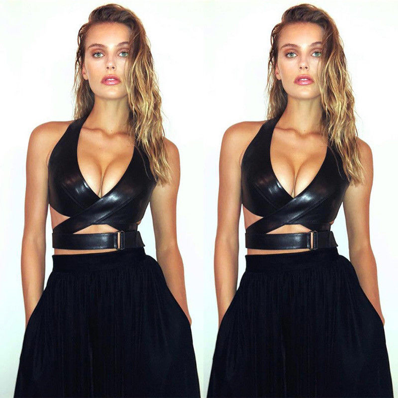 Women PU Leather Bralette Vest Crop Top Ladies Deep V-neck Cut-Out Party Club Evening Black Tank Tops